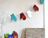 Custom for K only Winter Holiday Garland Mittens Wool Plaids