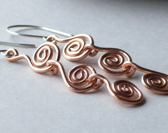 Spiral Earrings - Copper Earrings - Long Dangle Earrings - Boho Dangle Earrings - Celtic Spirals - Unique Earrings - Boho Earrings