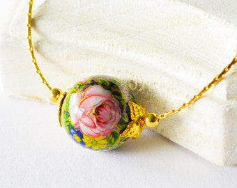 Small Purple Japanese Rose Tensha Bead Gold Slider Necklace, Small Beaded Purple Floral Slider Necklace