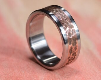 Titanium Ring, Copper Ring, Copper Inlay Ring, Distressed Ring, Wedding Ring, Mens Ring, Womens Ring,  Handmade Ring, Wedding Band, Engraved