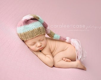 Rose Water - Tassel Stocking Hat newborn pink mint tan gold baby photography prop