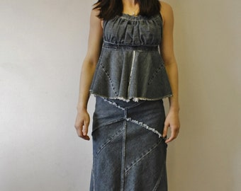Recycled Denim Halter Top Ecofriendly Recycled upcycled raw edges Flounced bottom