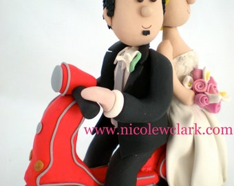 Vespa Wedding Topper with Bride and Groom.  Moped Cake toppers.  Vespa clay figure. Custom Wedding Cake Topper.  Scooter Cake topper. Tops