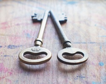 Large Antique Brass Skeleton Keys - Railroad Keys - RR // End Of Winter SALE - 10% Off - Coupon Code SAVE10