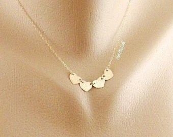 FOUR Heart Monogram Necklace, Initial Charm Necklace, GOLD Necklace, Grandma Heart Necklace, Mother's Day Jewelry