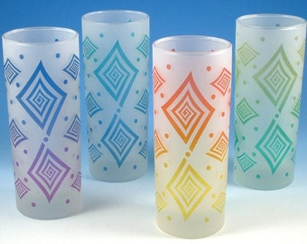 Spiral Diamonds - Highball Tumbler Glasses - Set of 4 - Frosted Style - Etched and Painted Glassware - Custom Made to Order