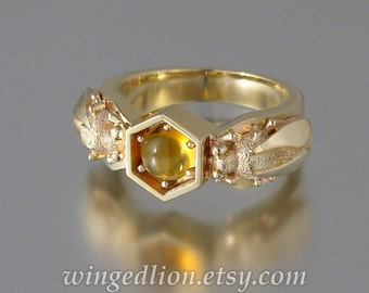 HONEY DROP 14k yellow gold ring with Citrine bee ring