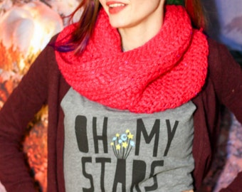 Hot Crimson Pink Glitter Cowl - Crocheted Eternity Scarf w/ Soft Acrylic Yarn & Pink Hologram Sequins - Read To Ship