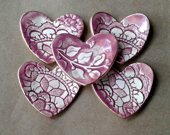 FIVE Heart Ring Bowls Bridal Shower favors wedding favors ceramic itty bitty Dusty Rose edged in gold