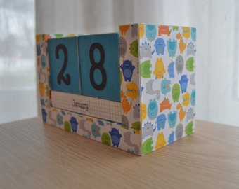 Perpetual Wooden Block Calendar, Roaming Monsters & Dinosaurs for Boys, Dinos in Neckties, Spiffy Monsters, Great Kid Gift, Ready to Ship