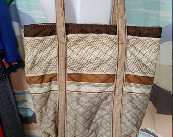 Vintage Brown Striped Polyester Tote