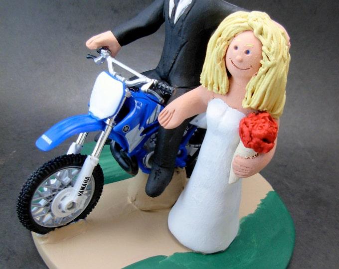 Yamaha Off Road Motorcycle Wedding Cake Topper, Motorcycle Wedding Anniversary Gift, Yamaha Motorcycle Wedding Anniversary Gift.