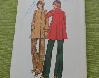 Vintage Butterick 6804 Misses Flared Hooded Coat Sewing Pattern size 12 B 24 FF UNCUT
