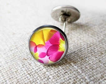 Hawaiian Pink and Yellow Flower Print Earrings. Pink Stud Post Earrings. Silver Earrings. Gifts for Her. Silver or Brass - TROPICANA BLOOM