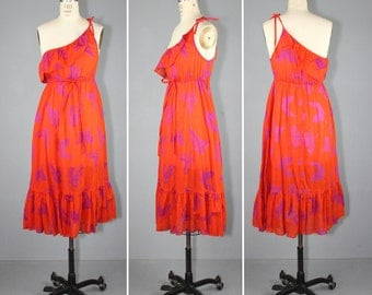 1970s / butterfly / one-shoulder / SASKIA vintage sundress