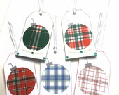 5 Plaid Christmas Bulb Gift Tags. Two Layers, Silver & White Ribbon with Rhinestones