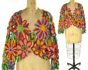 90s Crochet Cardigan / Vintage 1990s Beaded Open Knit Flower Sweater / Unusal Novelty Sweater by Michael Simon / Grunge Boho Hippie One Size