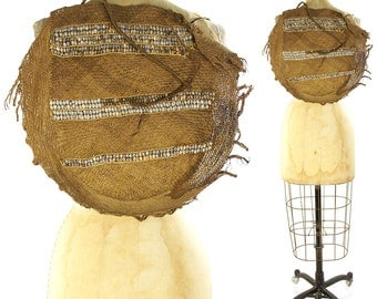 Vintage Bilum Backpack with Job's Tears / Tribal Papua New Guinea Woven Straw Grass Fiber Ceremonial Basket Bag