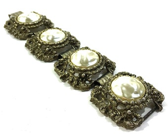 Baroque Bracelet / Vintage 1950s Antique Inspired BIG and WIDE Link Bracelet with Faux Pearls & Intricate Repousse Setting in Gold