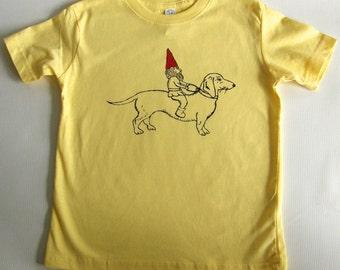 Dachshund & Gnome Toddler Tee Shirt- Hand Printed Cotton-Yellow- Kids funny tee shirt, Sizes  2T - 5/6