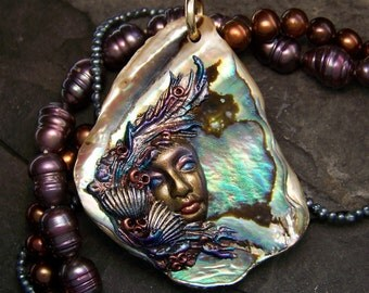 handmade Mermaid Sea Goddess Paua Shell Cameo Pendant or Bead OOAK artisan Jewelry