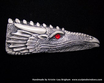 Black and Gray DRAGON Head Pendant or BEAD Polymer Clay with Red Crystal Eye