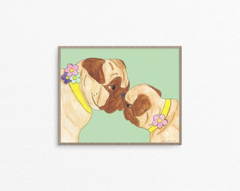 New Puppy, Pug Dog Lover Art Gift, Mom From Daughter, Mom And Baby Art Print, Mother And Daughter Wall Art, From Mother To Daughter, Pug Art