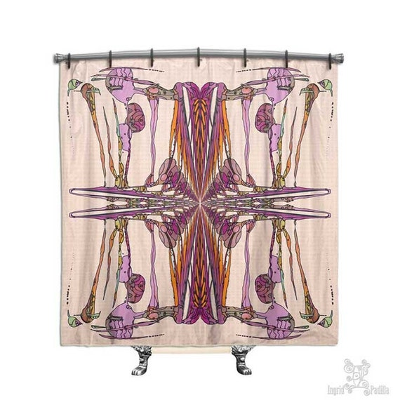 BOHO Shower Curtain, Shower curtain, Pink shower curtain, shower curtains, Shabby chic, Fabric shower curtain, shabby chic shower curtain