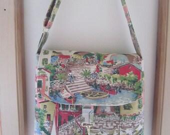 Linen Messenger Bag Cross Body Bag Shoulder Bag Canvas Bag Shabby Chic Venetian Toile