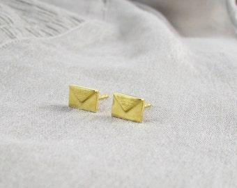 Gold Envelope Stud Earrings