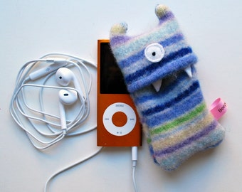 Lavendar and Light Blue Stripey Monster iPod Nano or Shuffle Cozy