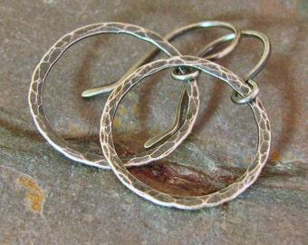 Rustic Jewelry Oxidized Hammered Silver Hoop Earrings Fine Silver Circle Earrings Lightweight Earrings Sterling Silver Dangle Hoop Earrings