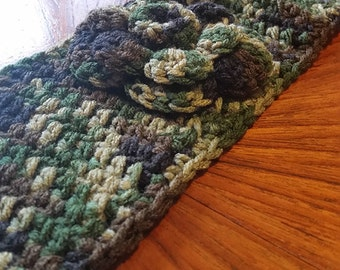 Handmade Crochet Headband ~ Ear Warmer with Crocheted Flower ~ Army Camo ~ Buttoned Closure