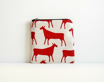Simple Zipper Pouch, Coin Purse, Change Pouch, Women and Teens, Mini Wallet, Skinny LaMinx Herds in Red