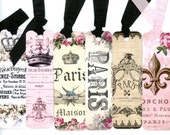 Shabby Bookmarks , French Theme , Crown Bookmarks , Paris Bookmarks , Pink and Black , Elegant Bookmarks , Fleur de Lis , Floral Bookmarks