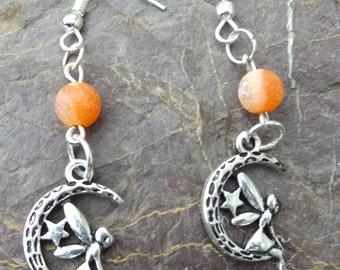 Silver Moon Fairies And Orange Dream Fire Agate Ear Ornaments