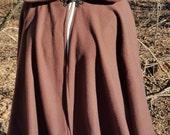 Short Brown Fleece Cloak - Circle Costume Cloak or Jacket