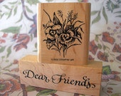 Dear Friends Calligraphy PSX 1998 and Stampin Up Pansies 2002 Retired Wood Mounted Rubber Stamps lot of 2 UNUSED