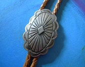 Vintage Bolo Tie 925 Sterling Silver Concho with Tan Braided Leather Cord, Silver Tips FREE SHIPPING