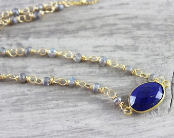 Lapis Lazuli Necklace, Gemstone Bezel Necklace, Blue Gemstone Necklace, Labradorite Necklace, Pendant Necklace, Gold Fill Necklace