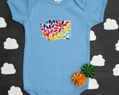 state pride baby onesie and tee -- colorful rainbow pattern -- custom state