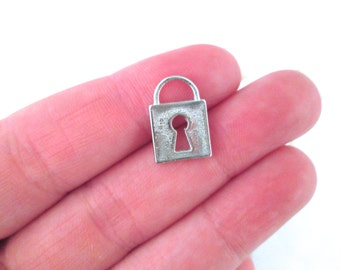 Square Silver Padlock Charms, 15x11mm, Pick your amount, D157
