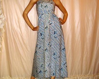Hippie Maxi Sundress Sky Blue White Thai Batik Print Martex Upcycled Vtg Sheet China Seas Cruise Resort Vacation Long Dress Adult S M L XL
