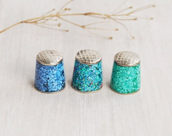 1 Vintage Crushed Turquoise Thimble - choice of color - inlaid crushed stone - alpaca silver made in Mexico