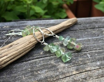Raw Watermelon Tourmaline Crystal, Sterling Silver Earrings, Long Dangle, Genuine Gemstone, Green Tourmaline, Wire Wrap, Handmade Jewelry