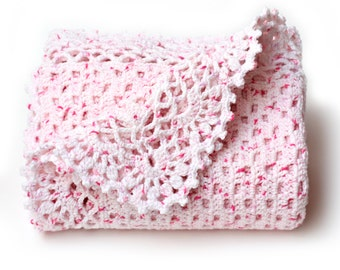 Pink Baby Blanket. Crochet Afghan. Keepsake Blankie for Infant. Kids Bedding Nursery Decor. Acrylic Throw. Baby Wrap. Baby Girl Shower Gift