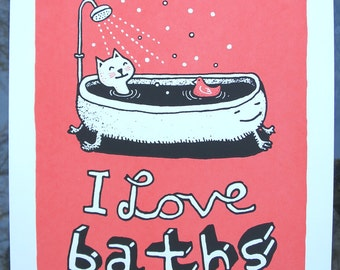 I Love Baths - 9x12