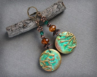 Branches. Artisan earrings. Bohemian dangle earrings. Woodland style. Nature inspired.  Handmade green beads crystals antiqued copper, brass