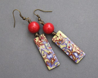Lavender Lime. Bohemian dangle earrings. Colorful Boho jewelry. Polymer clay and ceramic. Purple, green, red. Lightweight
