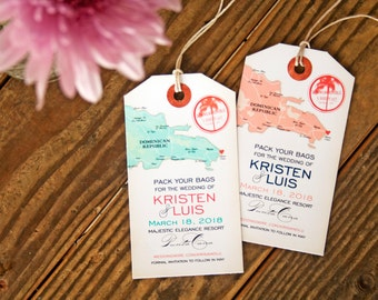 Punta Cana Luggage Tag Magnets - Map Save the Dates - Design Fee